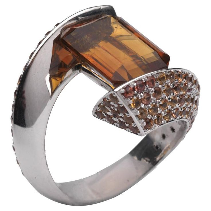 Barbara Nanning Citrine and Orange Sapphire, Gold Ring | From a unique collection of vintage more rings at https://www.1stdibs.com/jewelry/rings/more-rings/