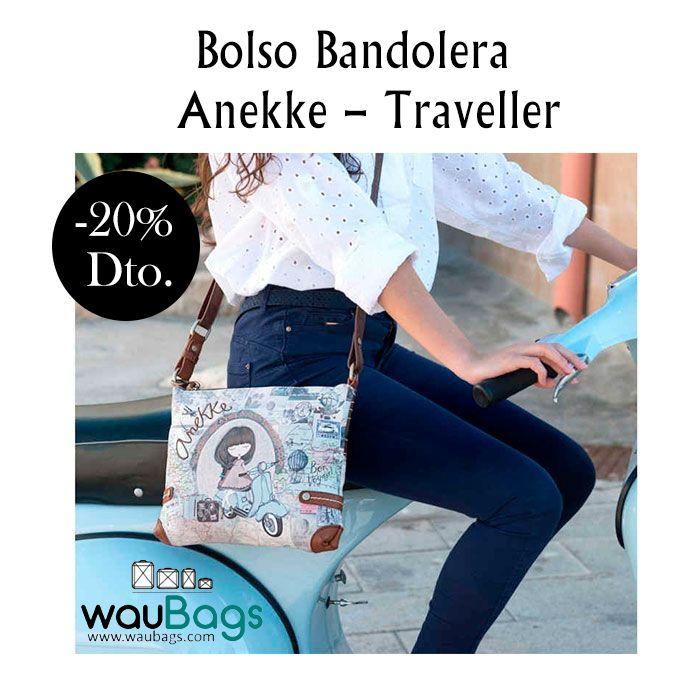 """Bolso Bandolera Anekke """"Traveller"""", con compartimento principal con cremallera, varios bolsillos interiores para llevarlo todo bien organizado y un bolsillo en la parte trasera, también con cierre de cremallera.  Con correa regulable y desmontable para llevar el bolso colgado al hombro o bien en bandolera. @waubags.com #anekke #bolso #bandolera #oferta #descuento #waubags"""