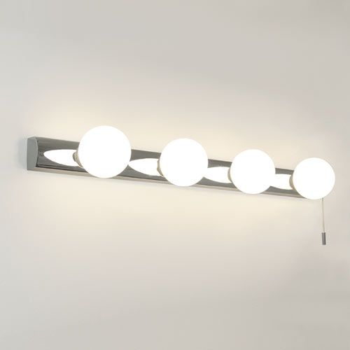 Cabaret Bathroom Wall Light, 4 Globe Lights on a Chrome Base with Pull Cord  Switch