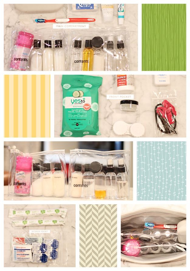 Compartmentalize your toiletry bag by pre-organizing your products in smaller plastic bags.