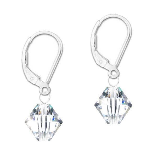 "A ""Must Have"" pair of earrings for any girls wardrobe.  These versatile and dazzling earrings are created with 8mm sparkling Swarovski crystal bicone beads and are attached to stylish sterling silver leverback earwires.  The highly polished facets on the crystal will catch and reflect the light with your every movement.  The perfect pair of earring for little and big girls. Wear on your 1st Holy Communion, add subtle glamour to your wedding day or simply wear every day because you like…"