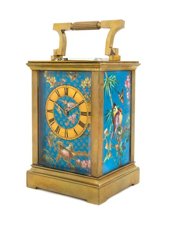 A French Brass and Champleve Carriage Clock Height over handles 6 7/8 inche