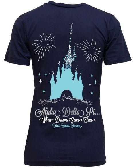 Alpha Delta Pi Disney Castle V-Neck by Adam Block Design | Custom Greek Apparel & Sorority Clothes | www.adamblockdesign.com
