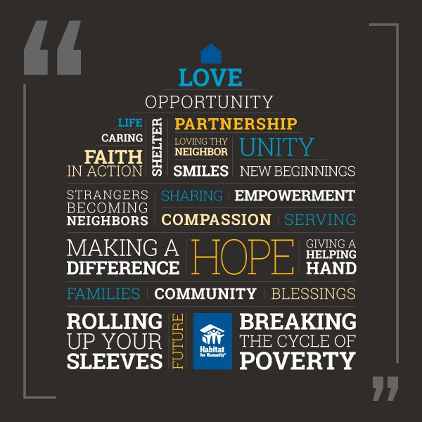 Habitat for Humanity is about hope, love, opportunity and empowerment. Visit the Habitat World blog to tell us how you describe Habitat!