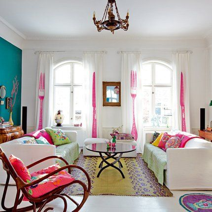 Love the curtains.: Colour, Interior Design, Livingroom, Dream House, Fork Curtains, Knife Curtains, Colorful Living Rooms, Space