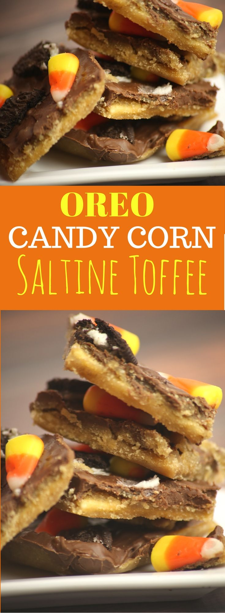 This Oreo and Candy Corn Halloween Saltine Cracker Toffee is an easy recipe that is a perfect dessert for a Halloween Party.