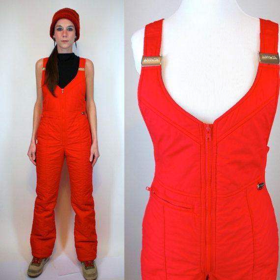 Bright Red Ski Bibs Snowsuit Vintage 70s Quilted Boho