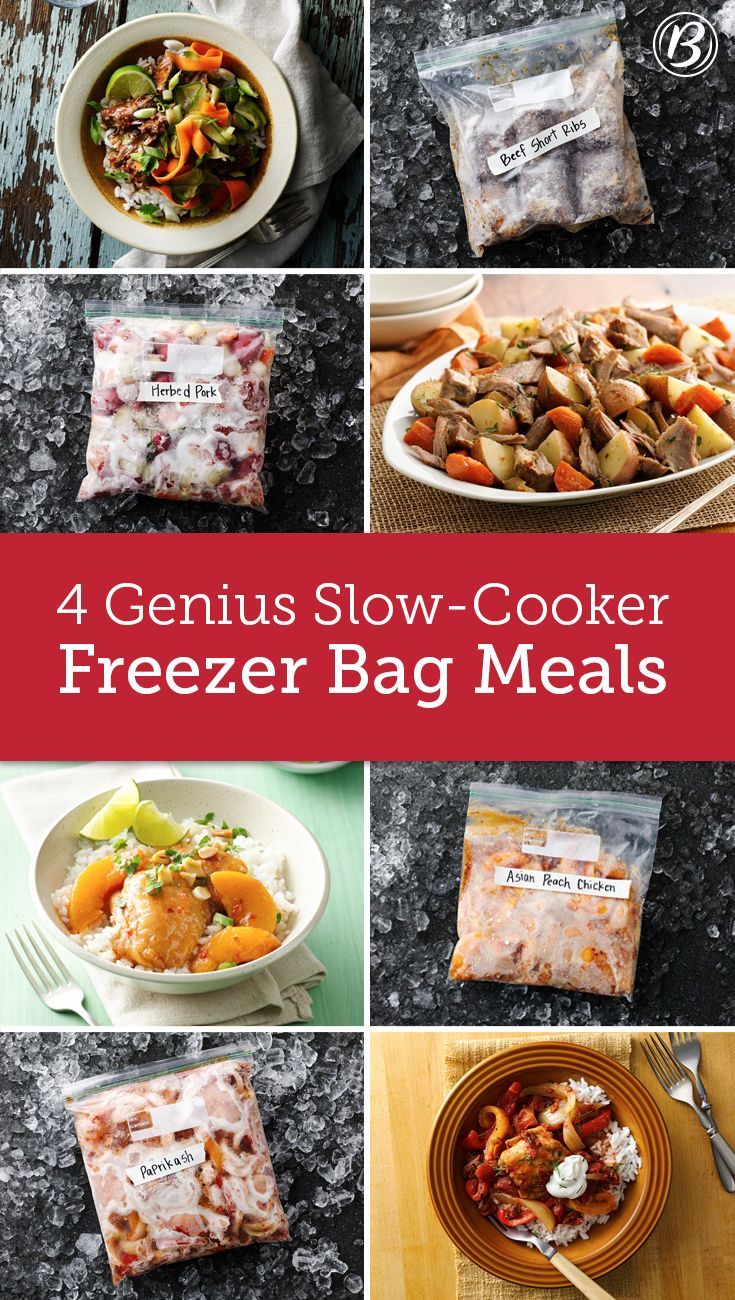 Fresh from the Betty Crocker test kitchens, these new make-ahead freezer meals are so simple to make! Prep them ahead of time, store in gallon-size freezer bags up to three months, then just thaw and toss in the slow cooker a few hours before dinner—no pots and pans required. There's a recipe for every taste, from Asian Beef Short Ribs to Peach Chicken Thighs.