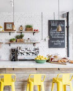 Hally's restaurant, London, yellow chairs, bar