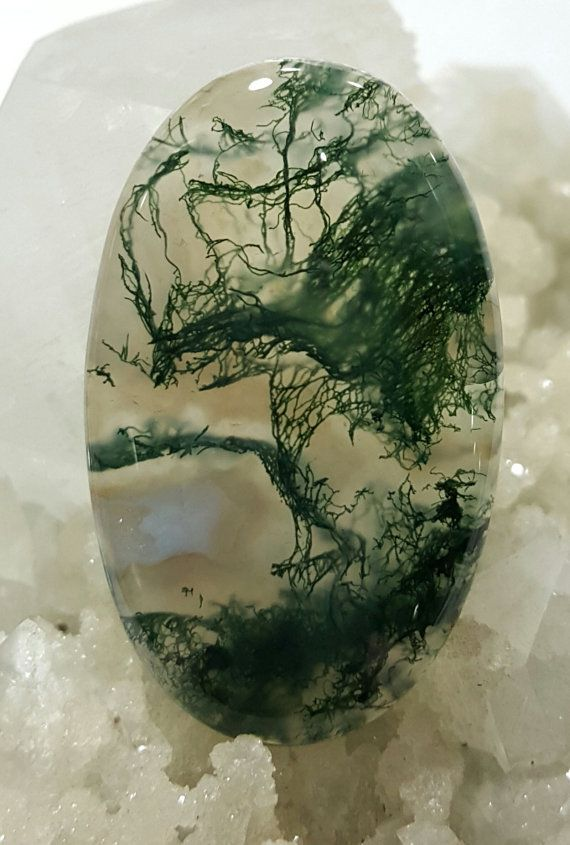 Moss Agate. Moss agate is form of chalcedony. It does not actually contain organic matter, the green color comes from green minerals. It is not considered a true agate as it lacks agate's defining feature of concentric banding.