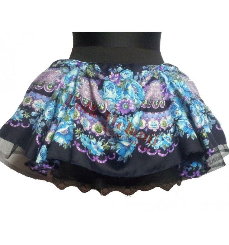 Spódnica Słowianka S3 szyta na miarę. Spódnica ma 3 warstwy: -podszewkę z koronką, -tiul, -tkaninę poliestrową w góralskie wzory. Całość jest na szerokiej gumie :)