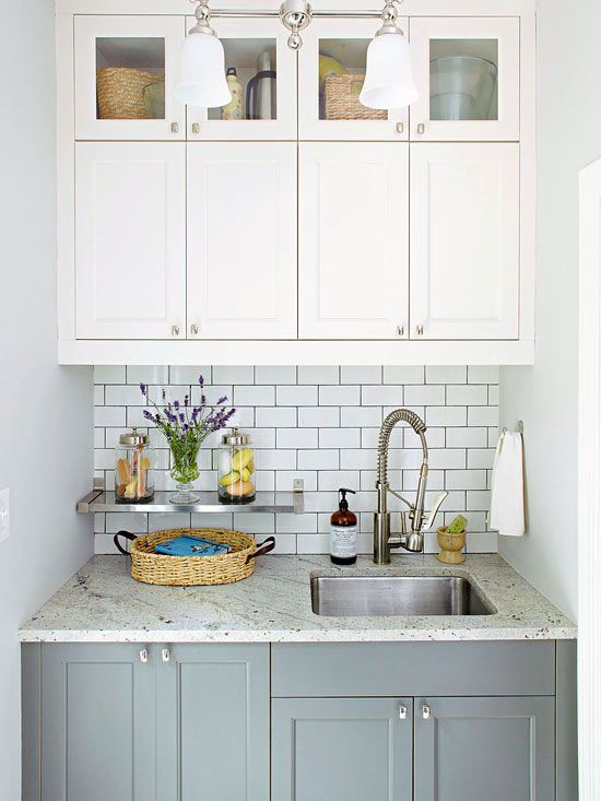 Wash Station  A granite countertop and a deep stainless-steel sink serve as a wash station between outdoors and inside. The clutter-free countertop is an ideal work surface for treating stains and rinsing off after outside activities.