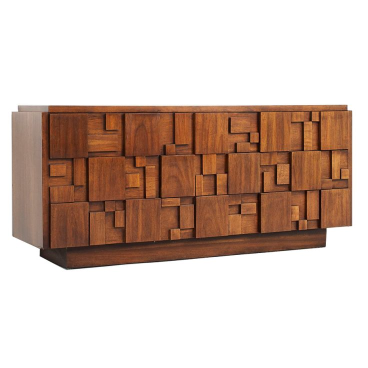 "1stdibs | Lane furniture brutalist credenza in solid walnut...1960's Lane Brutalist Credenza in walnut; 5'8"" long; 3 tows of drawers"