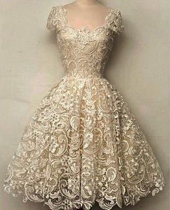 White Plain Lace Grenadine Hollow-out Short Sleeve Slim Dress - Dresses