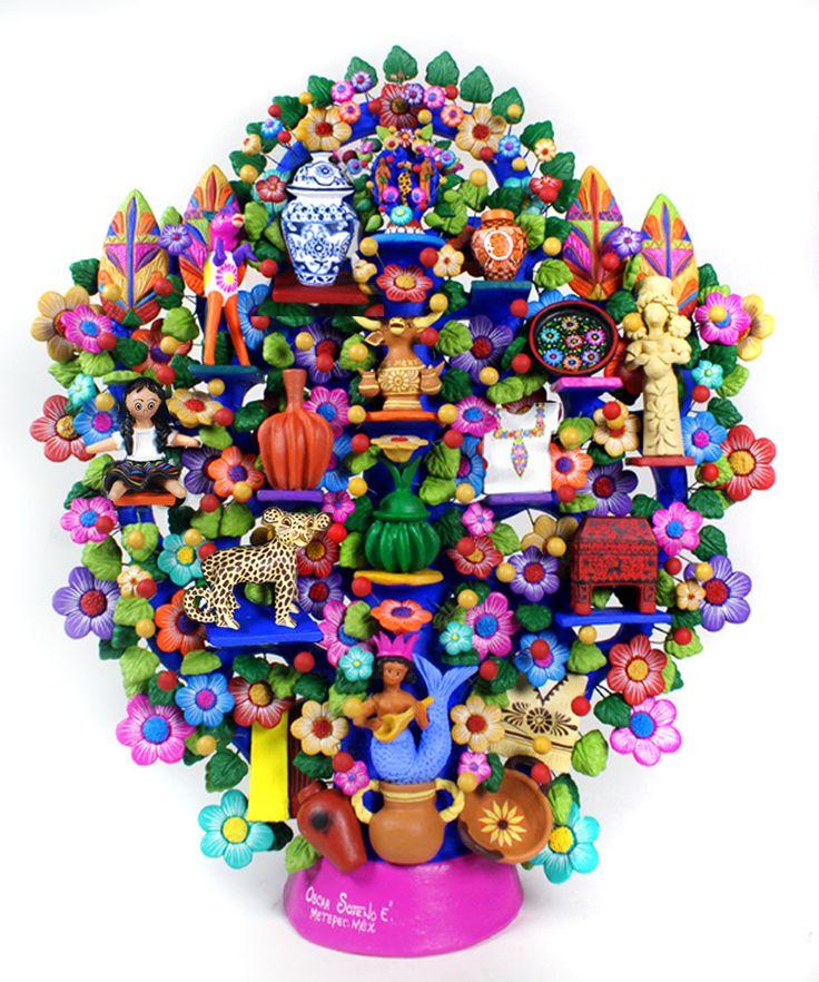 Mexican Folk Art Arbol de la Vida  http://www.mexicanceramic.com/folk/oscarsotenomxcrafts.htm#