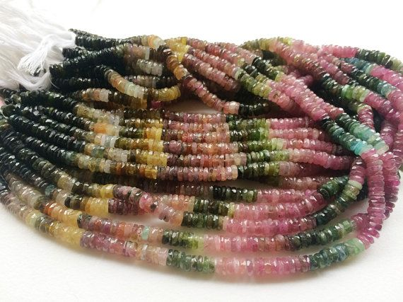 Multi Tourmaline Faceted Tyre Beads Tourmaline by gemsforjewels