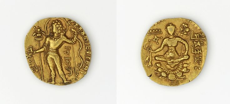 Dinar of Chandragupta II, made in India, c.376-414 (source).