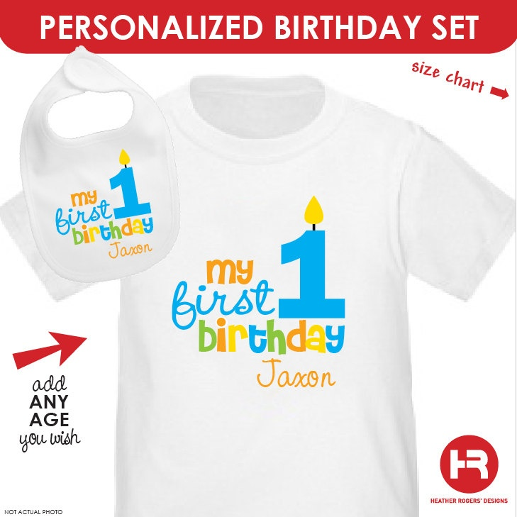 Personalized Boys 1st Birthday Shirt Or Bodysuit And Bib Set First Outfit