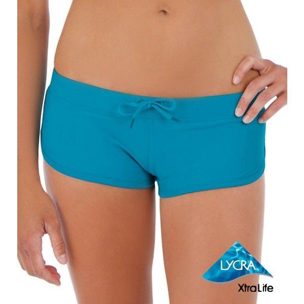 Sporti Sporty Swim Short ($14) ❤ liked on Polyvore featuring swimwear, teal, full coverage swimwear, sporti, boy shorts swimwear, long swim trunks and long-sleeve swimwear