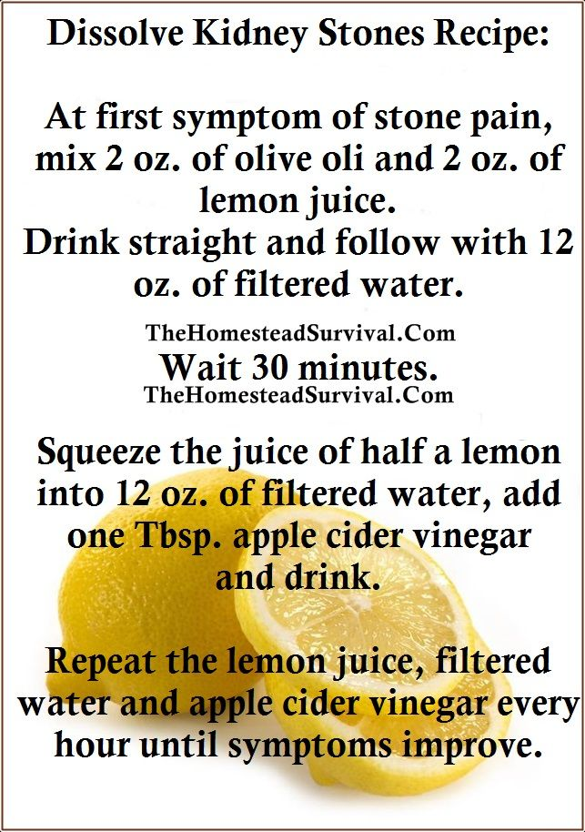 Lemon Juice Recipe For Kidney Stones » The Homestead Survival -Not sure if this works, but worth the repinning in case!