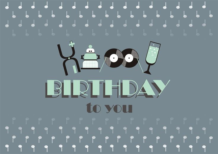 """""""Happy Birthday"""". Ocean blue and mint color funny illustration in 20's (past century) style for geeks for Birthday ocassion."""
