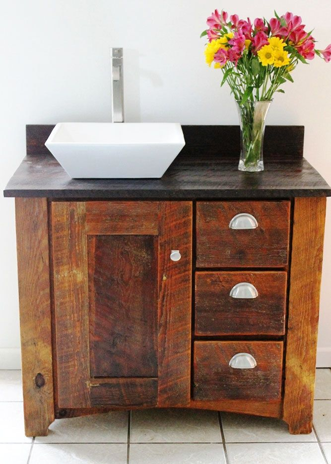 Reclaimened wood vanity handmade bathroom vanity - Bathroom vanities for small bathrooms ...