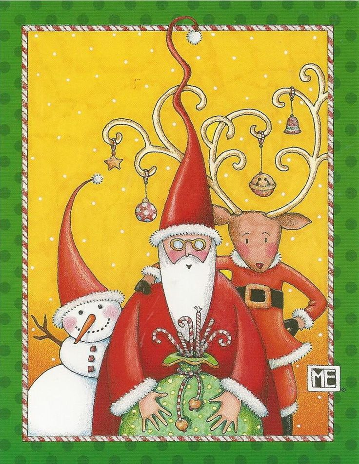 MARY ENGELBREIT BRAND 6 Blank CHRISTMAS Note Cards w\/Envelopes - blank xmas cards