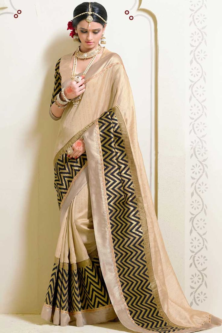 #AndaazFashion presents Cream Art Silk Saree with Blouse http://www.andaazfashion.co.uk/womens/sarees/cream-art-silk-saree-with-blouse-dmv8549.html