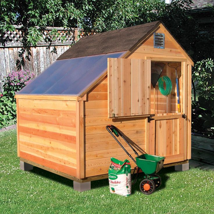 Attractive, multi-use building provides a great space to organize all your garden supplies and start your seedlings too. In the winter months, fold down the workbench and use the building as a traditional storage shed to stow away your outdoor furniture. Pine White Cedar is a naturally durable and termite resistant wood that ages beautifully. Built to last with a 25 year warranty!
