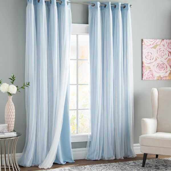 Brockham Solid Blackout Grommet Curtain Panels Panel Curtains Grommet Curtains Light Blue Curtains
