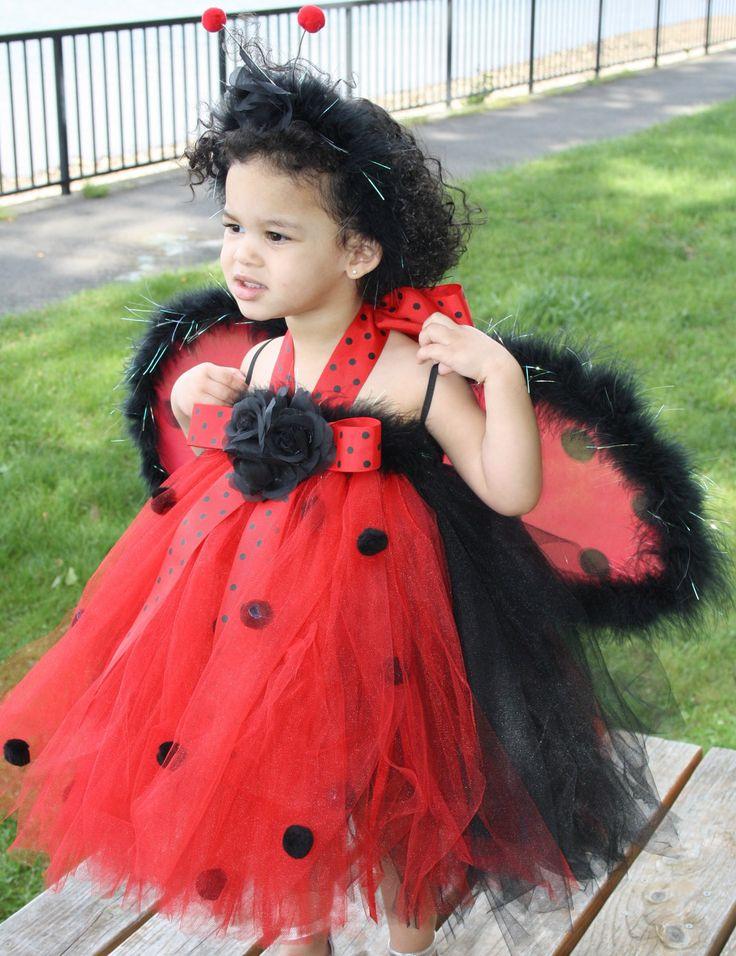 SALE , LADY BUG Halter Top Tutu Halloween Costume Dress Set, Includes Tutu  Dress,