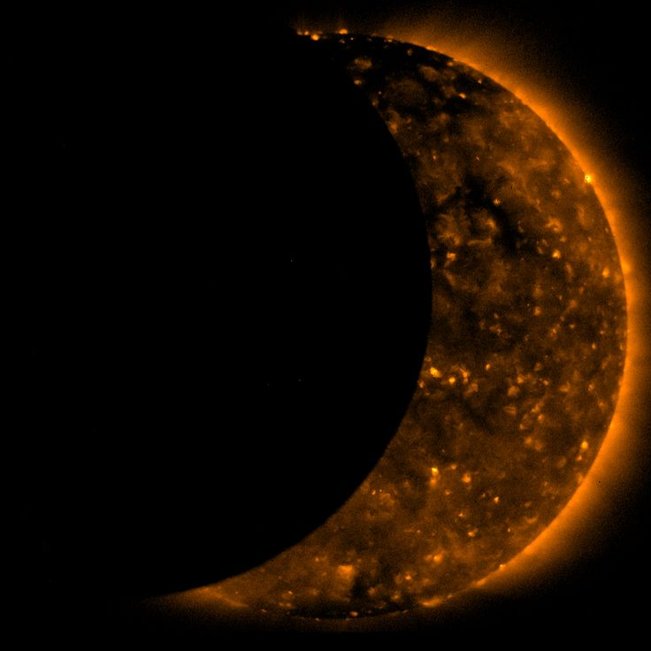 Close-up of a partial phase of the July 22, 2009 total solar eclipse. This photo was captured by the Hinode spacecraft. During a solar eclipse, the Earth, moon and sun are aligned in the same plane and the moon passes between the Earth and the sun, partially or completely covering our closest star.