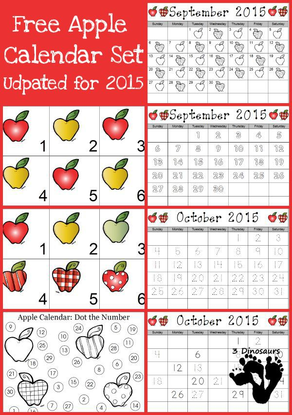 Free 2015 Apple Calendar - AB pattern cards, 6 apple themed cards and 5 different single page calendar sheets - 3Dinosaurs.com