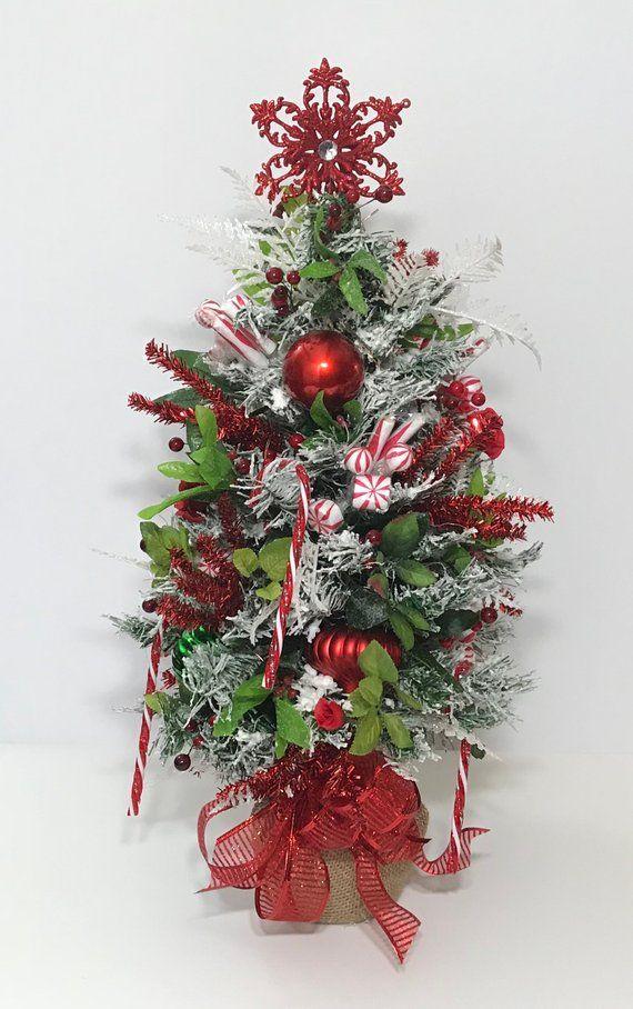 Small 25\u201d Tabletop Christmas Tree, Lighted Decorated Christmas Tree