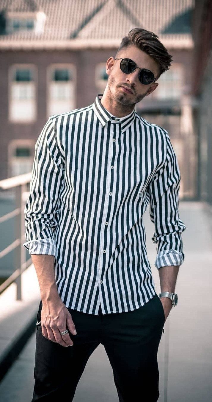 Black And White Vertical Striped Shirt Outfit Vertical Striped Shirt Outfit Outfits With Striped Shirts Shirt Outfit Men [ 1349 x 713 Pixel ]