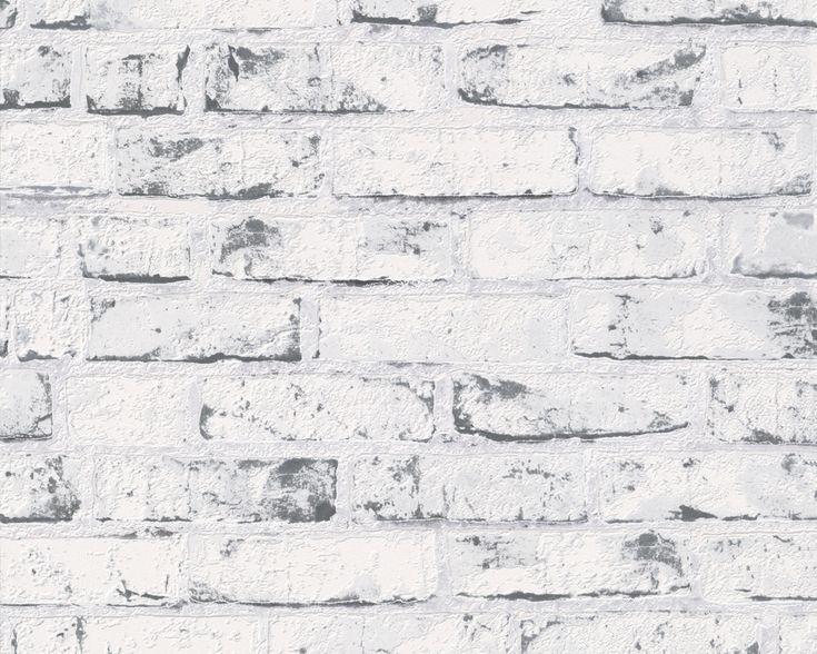 Lyst men hardt - hvitmalt og slitt grå teglsteinsvegg. Fra kolleksjonen New England #Wallpaper