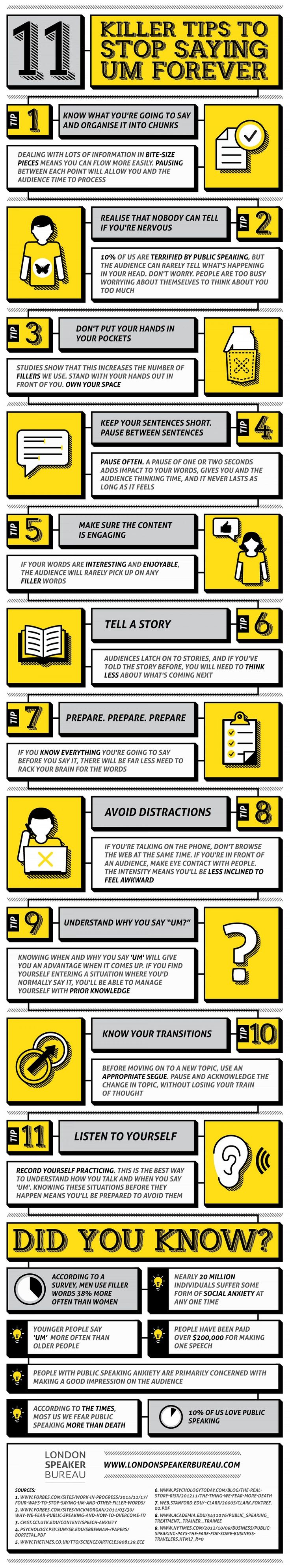 11 Killer Tips to Stop Saying 'Um' Forever #infographic ~ Visualistan