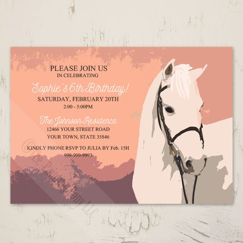 Horse Birthday party invitations for the equestrian horse lovers with cute white pony set against a pink and purple background perfect for any little girl's horse themed party.