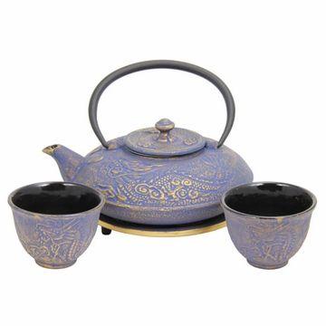 Enjoying Tea – Blue with Gold Dragon Phoenix Cast Iron Tea Set