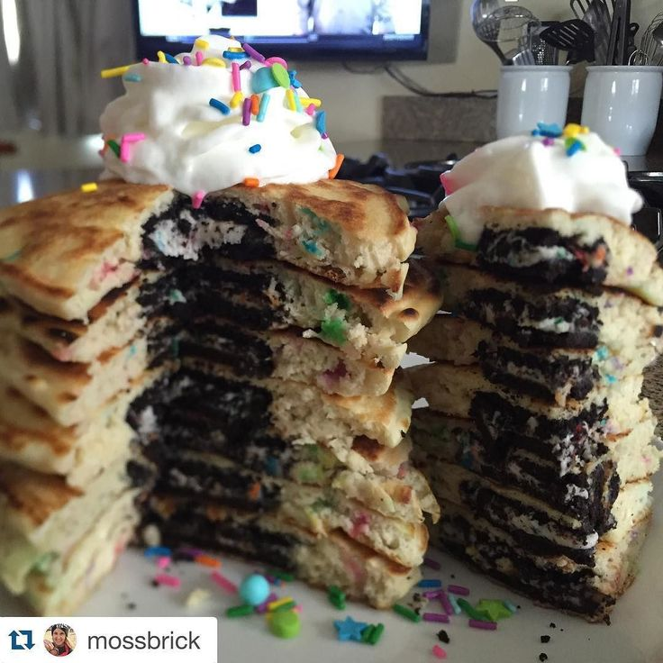 Wow Um. Yeah . Do I even need to say anything?  Oreo-stuffed confetti pancake stack @muscleegg  #Repost @mossbrick  The usual @danitzad #proteinpancake recipe with @sweetapolita #sprinkles mixed in plus a birthday cake #oreo stuffed inside . Whipped cream and sprinkles on top to complete this  #recipe #pancakes #weekend #fitfam #gains #food