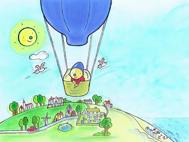 Pompom in de luchtballon