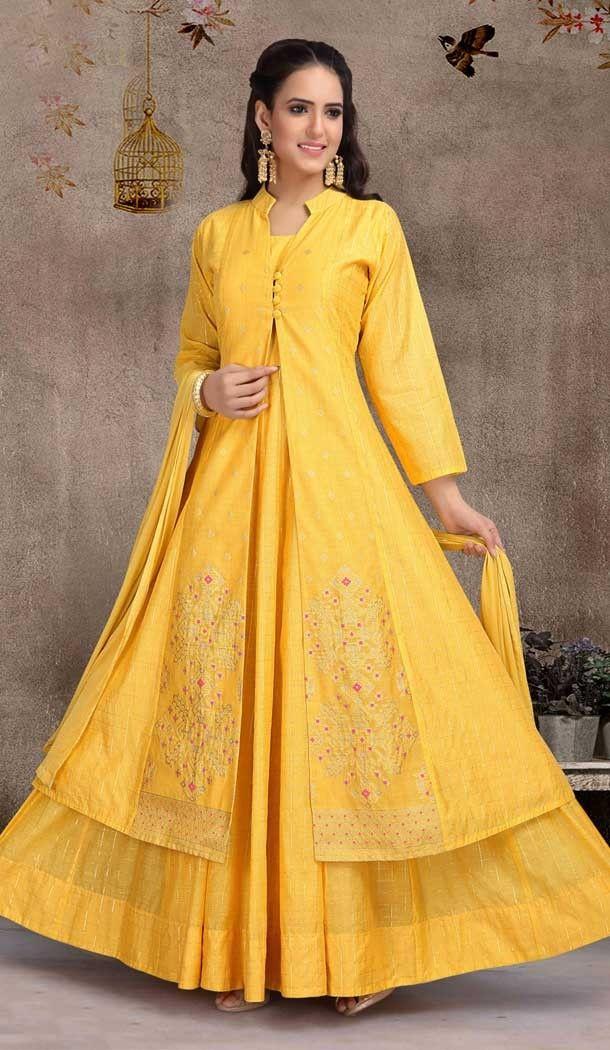 42f486469d Yellow Color Art Silk Designer Abhaya Full Stitched Suits   38164565 # heenastyle #christmassale #Christmas2018 #sale52off #salwarkameez #designer  #dresses # ...
