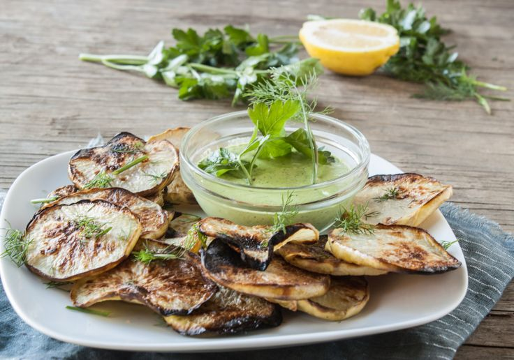 Kohlrabi Chips with Hippie Ranch Dip | Dishing Up the Dirt