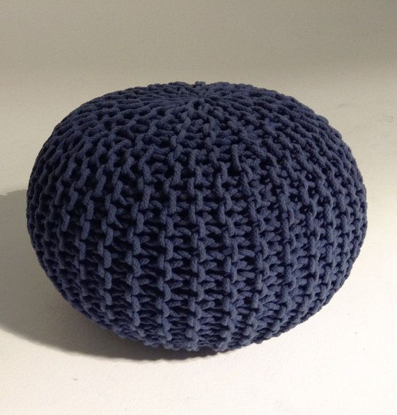 Handmade Knitted Pouf  Navy Blue  50x35cm  Hand Knit Pouf by GFURN