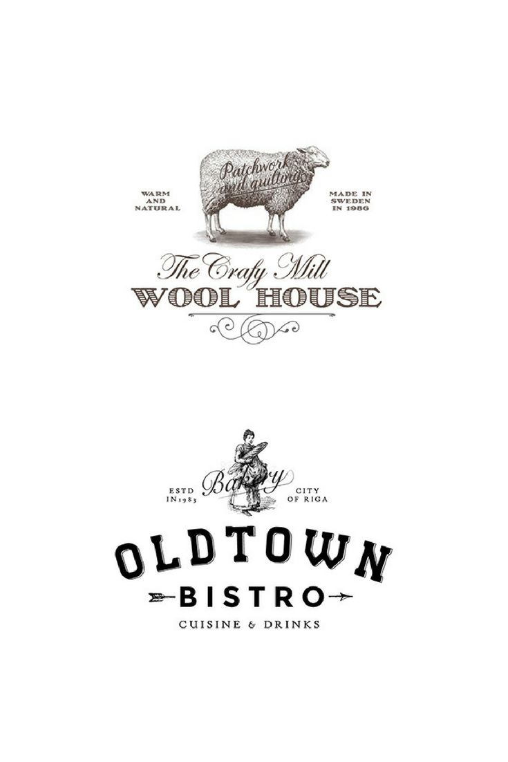 Illustrative logotype for a Swedish wool company & a logotype for a bistro.