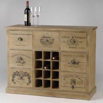 Wine crates console.
