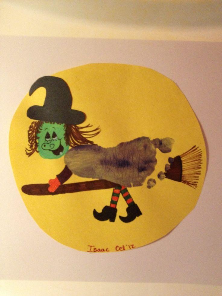 Footprint halloween witch | kids fall crafts | Pinterest