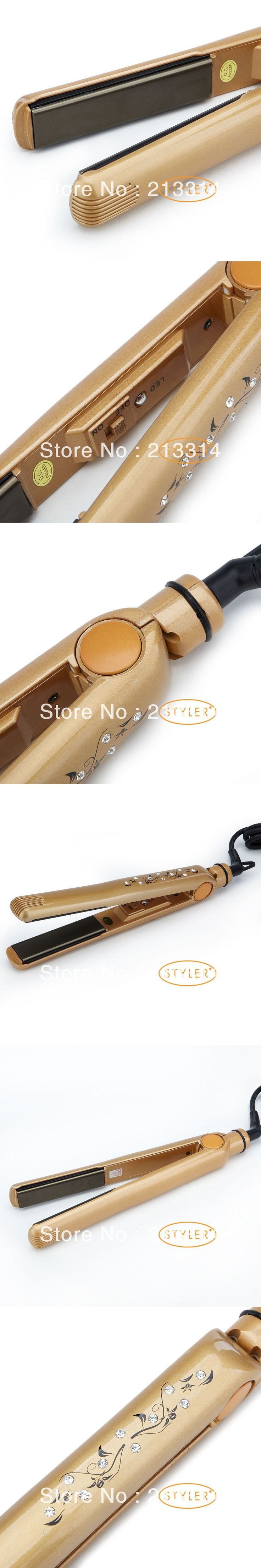 Fashion High quality Diamond straightening iron, Hot Selling professional hair straightener iron Brown  Fast shipping