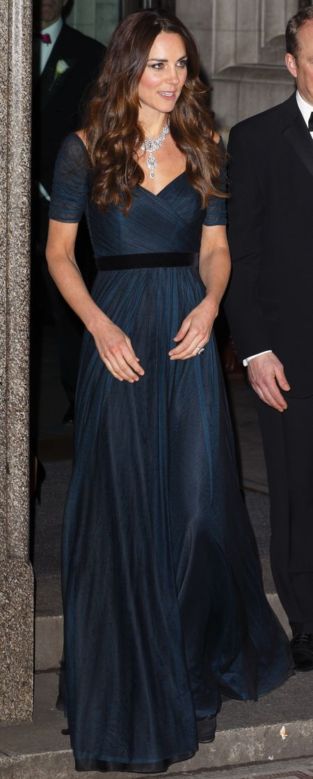 Kate Middleton in a navy blue Jenny Packham dress at the National Portrait Gallery. February, 2014.