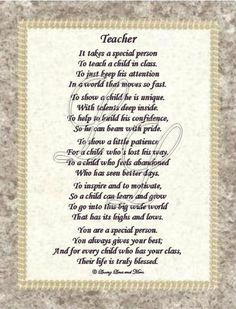 teacher poem | Teacher poem is about a special teacher. Poem may be personalized with ...